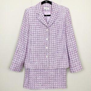 Amanda Smith Tweed Skirt Suit Set SZ12